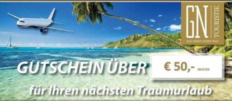 Reisegutscheine über € 50,- & € 100,-